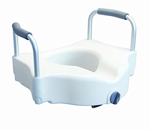 MediChoice Toilet Seat, Raised, Front Clamping, 20.75' Overall Width 18.5' Wide Between Arms 16.5' Deep x 4' High, 300 lb. Evenly Distributed Weight Capacity, Heavy-Duty Plastic Seat (Each of 1) by MediChoice
