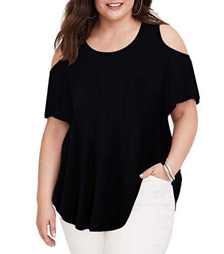 (Women T Shirt Cold Shoulder Plus Size Shirts Cut Out Basic Short Sleeve T Shirt Tops Black 4X)
