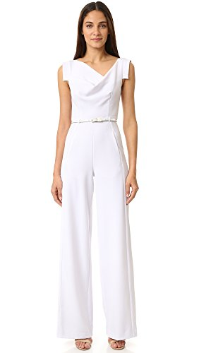 Black Halo Women's Jackie Belted Jumpsuit, White, 6