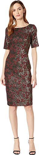 Adrianna Papell Women's Slim Elbow Sleeves Metallic Jacquard Modern Sheath Dress, Garnet, 16