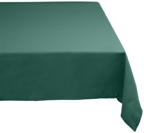 """DII 100% Polyester, Machine Washable, Holiday, Dinner Solid Tablecloth 52 x 70"""", Dark Green, Seats 4 to 6 People"""