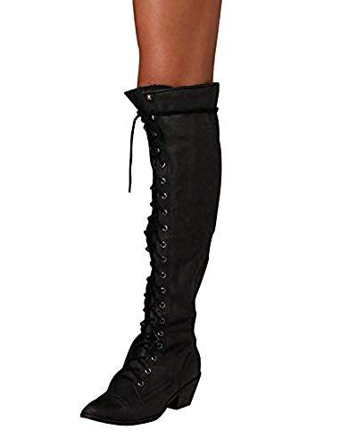 515654ba5 Boots Cuero Hasta Ancho Negro Encaje Alta Invierno Botines Largo Zapatos  Minetom Tacón Rodilla Mujer Cremallera Moda Planos Otoño Pu ...