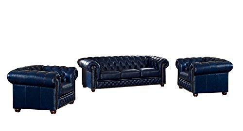 Coja by Sofa4life Pinehurst Leather Sofa and Two Chairs Set, Blue