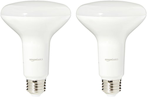AmazonBasics 65 Watt Equivalent, Soft White, Dimmable, BR30 LED Light Bulb | 2-Pack