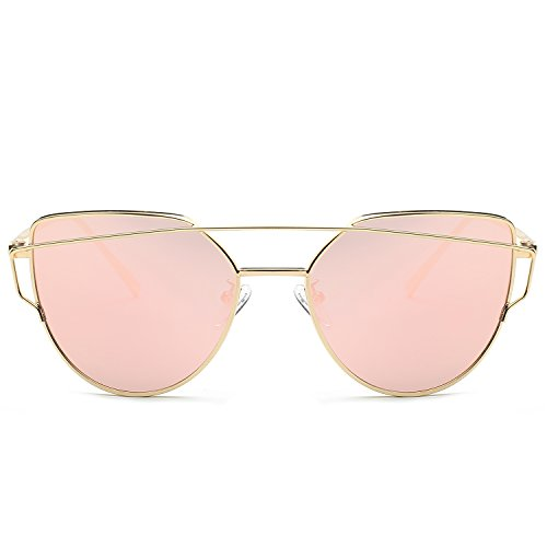 SojoS Cat Eye Mirrored Flat Lens...