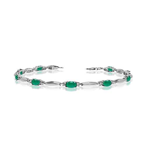 "2.70 Carat (ctw) 10k White Gold Oval Green Emerald and Diamond Tennis Bracelet - 7"" Length"