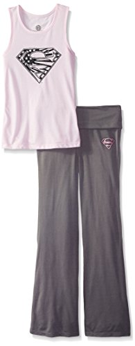DC Comics Girls 'Superman Supergirl Americana' Yoga Pajama Set, Pink,  -