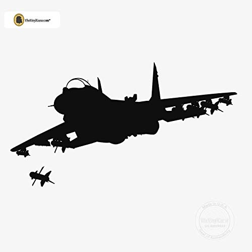 - TheVinylGuru - Airplane Wall Decal - Jet Fighter Vinyl Art for Home Decor - Removable Plane Giant Sticker - Aircraft Silhouette for Boys and Girls - Safe Outline Figure for Themed Room Design