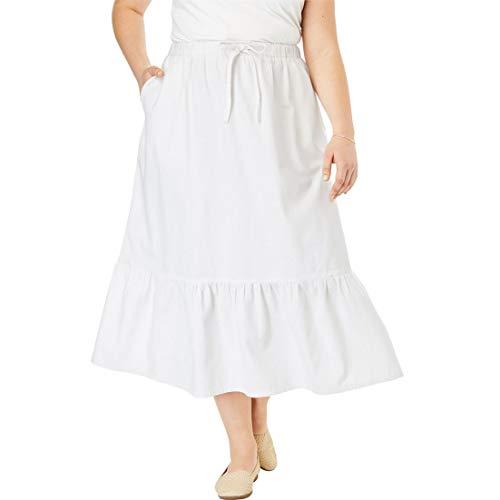 - Woman Within Plus Size Drawstring Chambray Skirt - White, 20 W