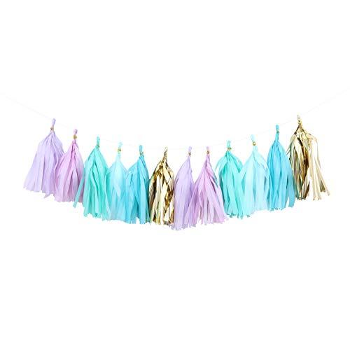 Fonder Mols Mermaid Tassel Garland Tissue Paper Tassels Banner DIY Kit(30pcs, Mint Aqua Tiffany Blue Gold) for Sea Birthday Party Bridal Shower Baby Shower Nursery Room Decor A31