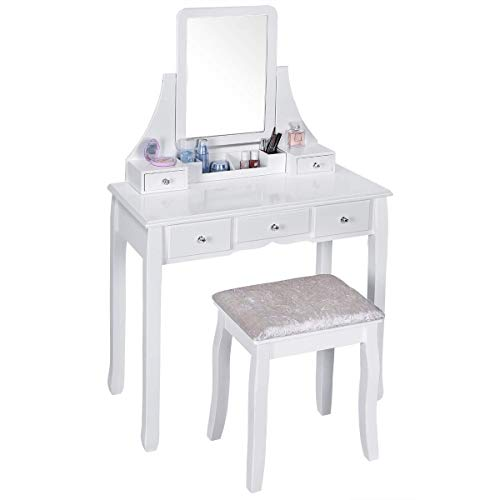 Vanity Set, Vanity Table with Mirror and Cushioned Stool, Makeup Vanity with 3 Large Sliding Drawers, Removable Organizer, Makeup Table Dressing Table Easy Assembly (Table Childrens Dressing White Set)