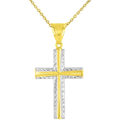 14k Textured Cross (High Polished 14K Yellow Gold Textured Cross Pendant Necklace, 18