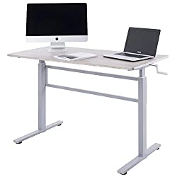 Unicoo Crank Adjustable Height Standing Desk, Adjustable Sit To Stand Up Desk,home Office Computer Table, Portable Writing Study Table (grey Oak Top/gray Legs)