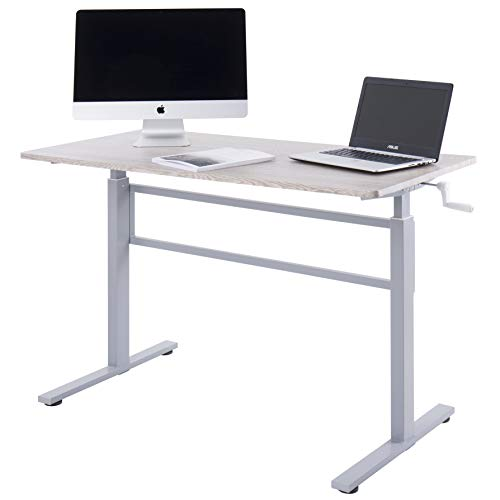 UNICOO - Crank Adjustable Height Standing Desk, Adjustable Sit to Stand up Desk,Home Office Computer Table, Portable Writing Study Table (Grey Oak Top/Gray Legs)