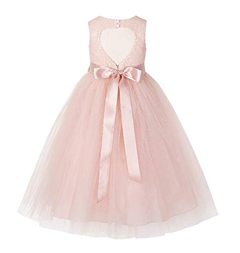 ekidsbridal Heart Cutout Sequin Junior Flower Girl Dress Christening Dresses 172seq 3 Blush Pink