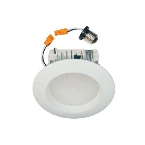 super popular d235b 1a95c Commercial Electric 4 In. White Recessed LED Retrofit Trim ...