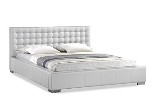 Baxton Studio Madison White Modern Bed with Upholstered Headboard, King