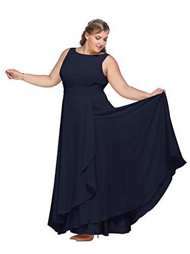 AW Bridal Chiffon Bridesmaid Dress Long Formal Prom Party Evening Maxi Dresses Sleeveless, Dark Navy, US10
