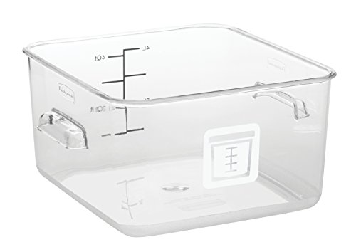 Rubbermaid Commercial Products 1980313 Square Plastic Food Storage Container, White Label, 4 Quart, ()