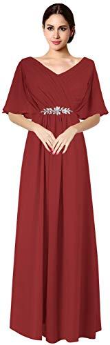 VaniaDress Women V Neck Half Sleeveles Long Evening Dress Formal Gowns V265LF Burgundy US14 from Vania Dress