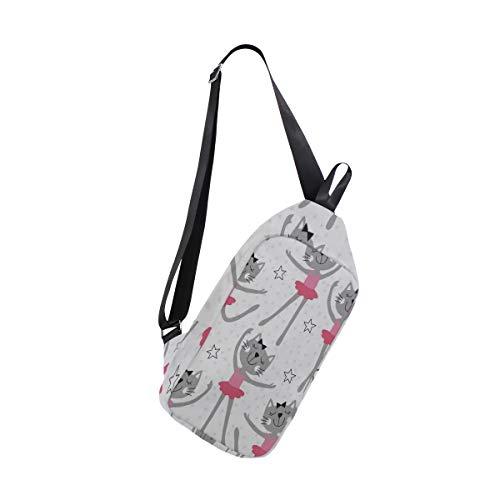 Sling Bag Cats Ballet Mens Chest Shoulder Backpacks Crossbody Body Bag Pack ()