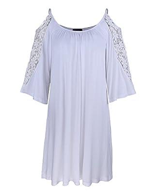 Kilig Women's 3/4 Sleeve Off Shoulder Tunic Tops Loose Casual Dress