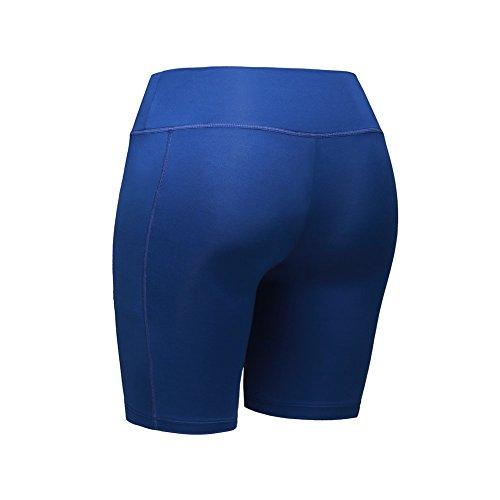 ESHOO mujeres Shorts de compresión Shorts de carreras de deporte Slim Gym Yoga Fitness Workout–Mallas elásticas Azul