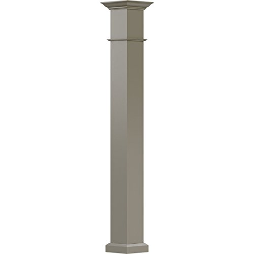 AFCO EA0610INPSFWEWE 6'' x 10' Endura-Aluminum Wellington Style Column, Square Shaft (For Post Wrap Installation), Non-Tapered, Wicker Finish w/ Capital & Base by Afco