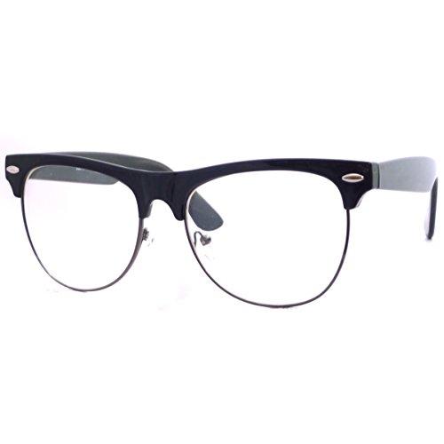 VINTAGE Clubmaster Thick Half Rim Wayfarer Frame Clear Lens Eye Glasses GUNMETALBLACK