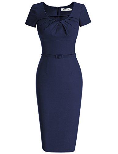 MUXXN-Womens-1950s-Vintage-Short-Sleeve-Pleated-Pencil-DressLBlue