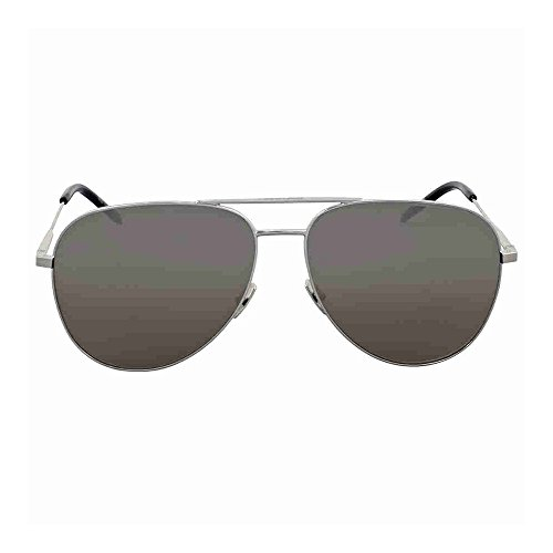Saint Laurent Classic 11 010 Silver/Black Aviator Sunglasses - Aviator Laurent Saint 11 Sunglasses Classic