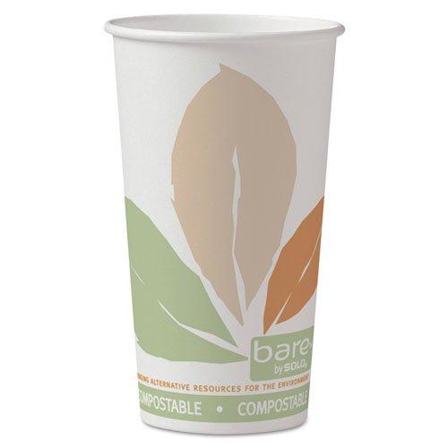 SOLO Cup Company Bare SSPLA Paper Hot Cups, 20oz, White w/Leaf Design - Includes 600 cups.