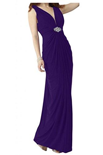 La novia de moda V-cuello de la Toscana por la noche fiesta de dama de honor vestidos de gasa largo bola Prom vestidos morado