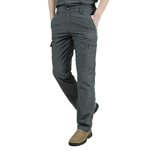 Mens Casual Pants Elastic Waist Pleated Front Loose Fit Besch Trousers Shorts with Pockets