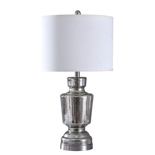 Stylecraft Trophy Mercury and Brushed Steel 27-Inch One-Light Table Lamp