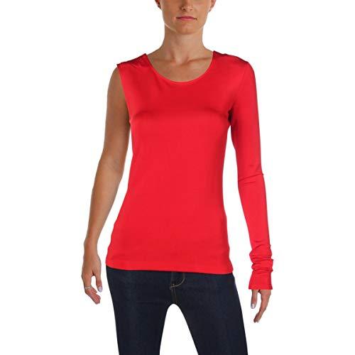 - Helmut Lang Womens One Shoulder Bondage Pullover Top Red XS