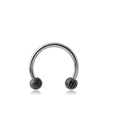 (El Morro Body Piercing Jewelry Surgical Steel Micro Circular Barbell With Uv Acrylic Fancy Balls 16g)