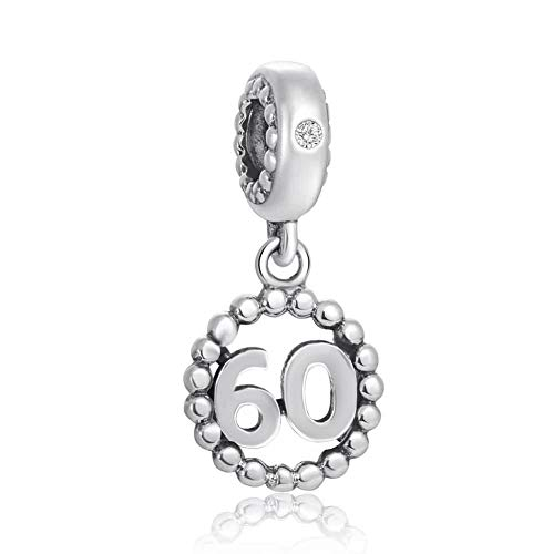 Choruslove Lucky Milestone Number Silver Charms 925 Sterling Silver Inlay Zircon Fit Necklace Birthday Annivesary Gifts (Number 60 Dangle Charm)