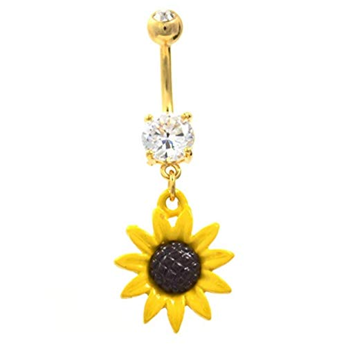 14G Bright Yellow Sunflower Gold-Tone Steel Belly Button Navel Ring