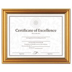 - Antique Colored Document Frame w/Certificate, Metal, 8-1/2 x 11, Gold by MOT