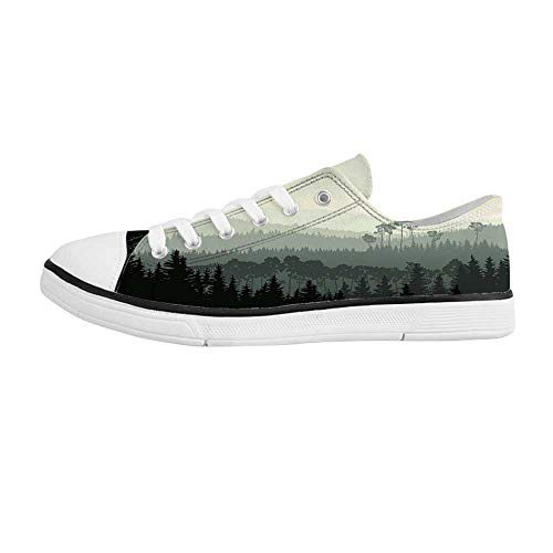 Apartment Decor Comfortable Low Top Canvas ShoesThe Panorama of a Valley and a Mystic Forest of Pine Trees for Men Boys,US - Mystic Valley Linens