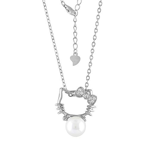 Cat Necklace Jewelry Hello Kitty Style Sterling Silver CZ Cultured Freshwater Pearl (White) - Hello Kitty Pave