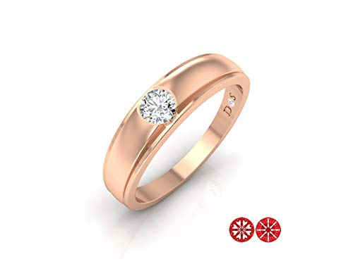 14k Gold with 0.18 Carats Matte Glossy Finish Flush Set Solitaire Diamond Band Ring-RF1507 (H Color, VS2 Clarity)