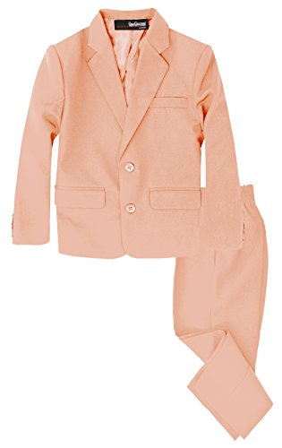 G218 Boys 2 Piece Suit Set Toddler to Teen (7, Peach) -