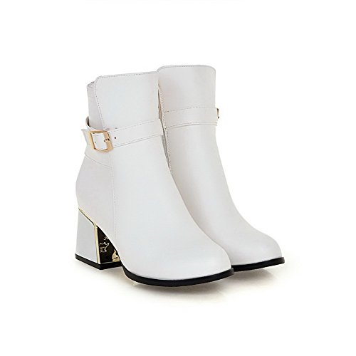 AmoonyFashion Womens Low-Top Solid Zipper Closed Round Toe Kitten-Heels Boots White 9FvcJH