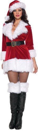 Women's Christmas Costumes - Secret Santa, Red/White/Black, Medium -