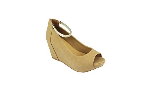 Bamboo Range 4 Wedges Ankle Straps Very Comfortable and Stylish (6, Nude)
