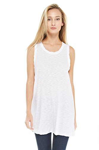 Womens Prewashed Slub Burnout Tunic Tank Top Knit Ruched Detail (White, Medium)
