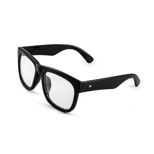Black Bold Square Glasses Bold Thick Frame Clear Lens Men Women -