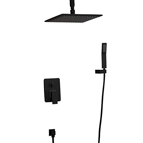 KunMai Matte Black 10'' Rain Shower System Ceiling Mount Rainfall Square Shower Set Combo with Handheld Shower Rough in Valve Included